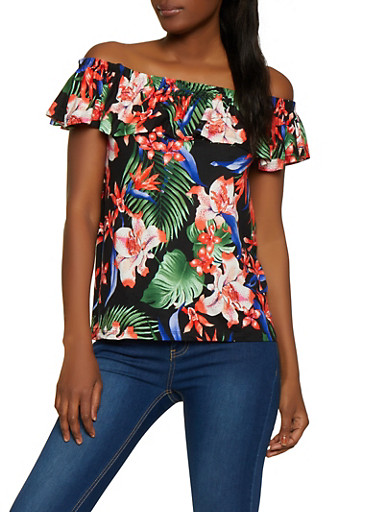 Mixed Floral Print Off the Shoulder Top,BLACK,large