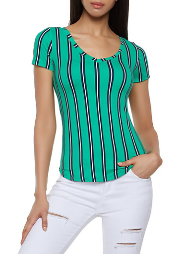 Striped Soft Knit Tee,KELLY GREEN,large