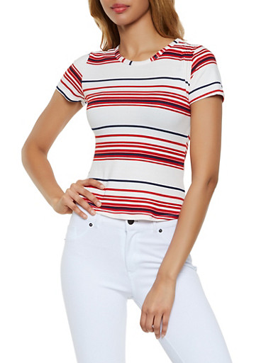 Soft Knit Striped Tee,WHITE,large
