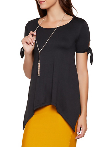 Tie Sleeve Asymmetrical Top with Necklace,BLACK,large