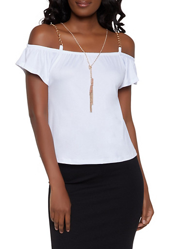 Chain Detail Cold Shoulder Top with Necklace,WHITE,large