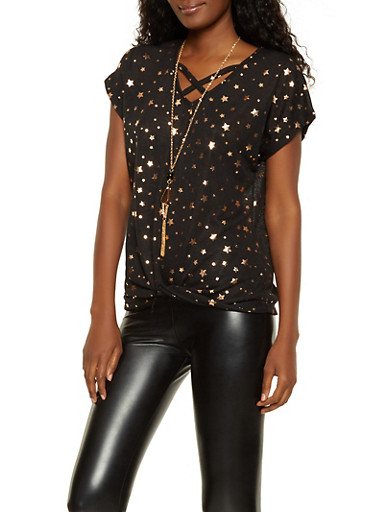 Foil Star Print Twist Front Top with Necklace,BLACK,large