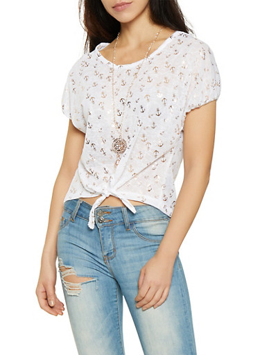 Anchor Print Tie Front Top with Necklace,WHITE,large