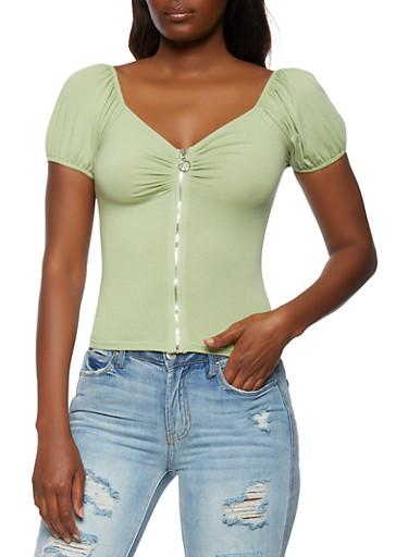 Zip Front Bubble Sleeve Top,JADE,large