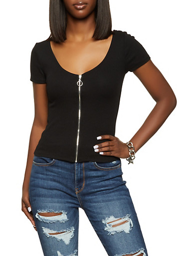 Zip Front Rib Knit Top,BLACK,large