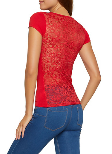 Lace Back Short Sleeve Top,RED,large