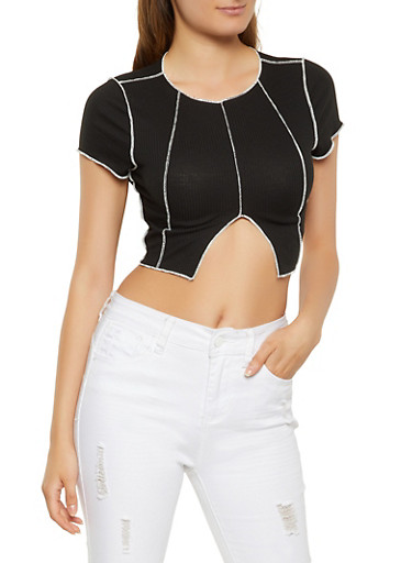 Contrast Stitch Crop Top,BLACK,large