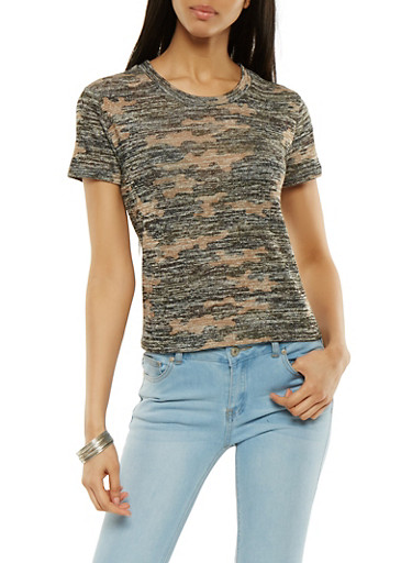 Camo Knit Tee,OLIVE,large