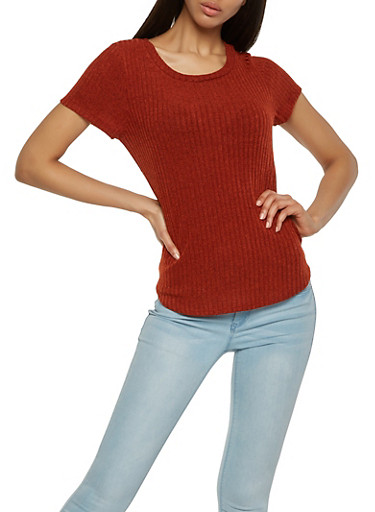 Ribbed Knit Tee,RUST,large
