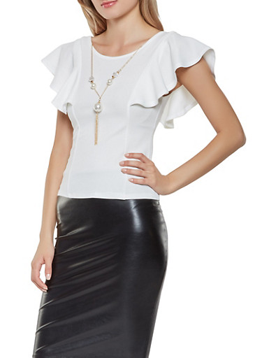 Ruffled Crepe Knit Top with Necklace,WHITE,large