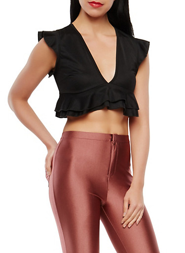 Ruffle Trim Crop Top,BLACK,large
