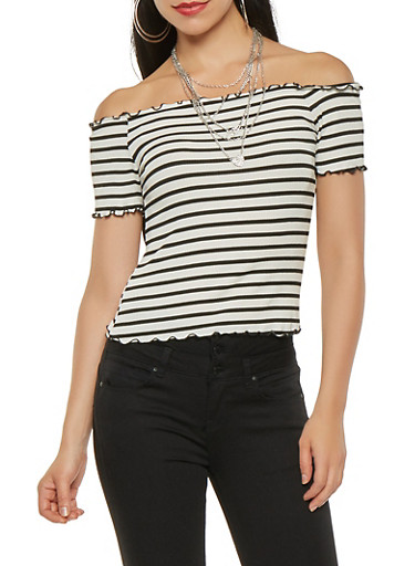 Striped Rib Knit Off the Shoulder Crop Top,WHT-BLK,large