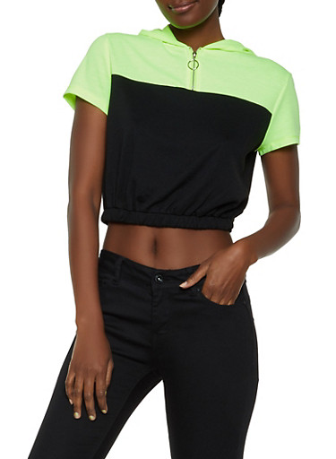 Color Block Zip Neck Hooded Top,BLACK,large