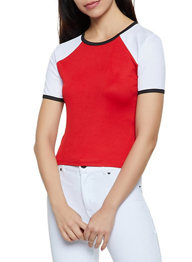Ribbed Color Block Tee,RED,large