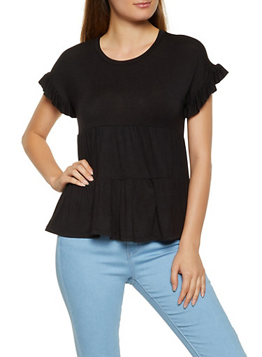 Tiered Babydoll Top,BLACK,large
