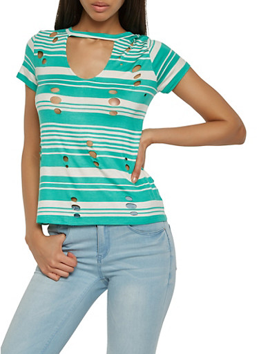Laser Cut Striped Tee,MINT,large