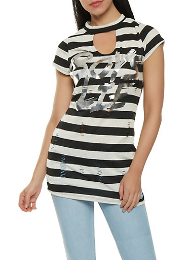 Boys Lie Graphic Distressed Tunic Top,BLACK/WHITE,large