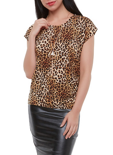 Cheetah Print Top with Necklace,TAN,large