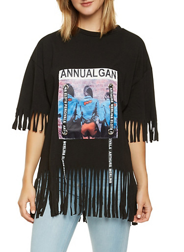 Graphic Patch Fringe Tee,MULTI COLOR,large
