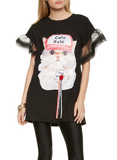 Cat Graphic Organza Sleeve Tunic Tee,BLACK,large