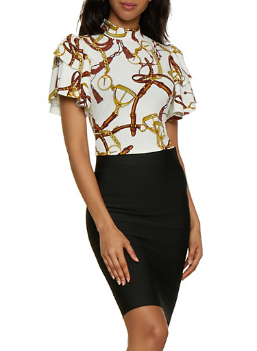 Tiered Ruffle Sleeve Printed Top,IVORY,large