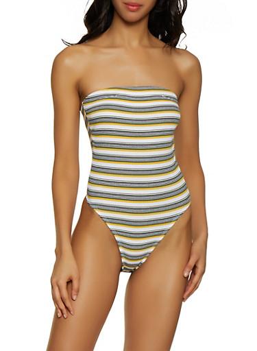 Striped Halter Neck Bodysuit,MUSTARD,large