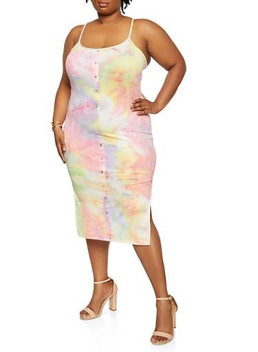 Plus Size Tie Dye Button Detail Cami Dress,BABY BLUE,large