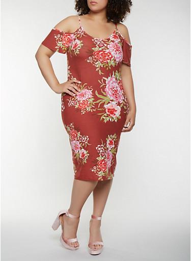 Plus Size Floral Cold Shoulder Midi Dress,WINE,large
