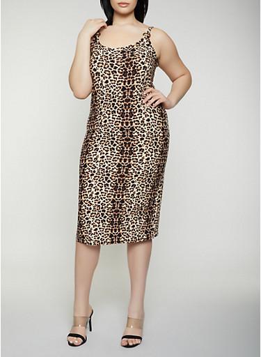 Plus Size Printed O Ring Cami Dress,BLACK,large