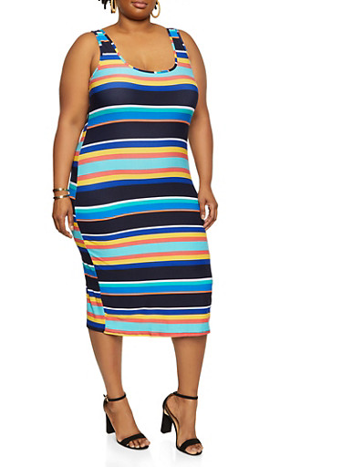 Plus Size Printed Dress,NAVY,large