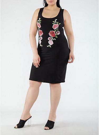Plus Size Rose Graphic Tank Dress,BLACK,large