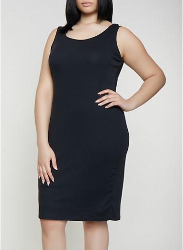 Plus Size Ribbed Soft Knit Tank Dress,BLACK,large