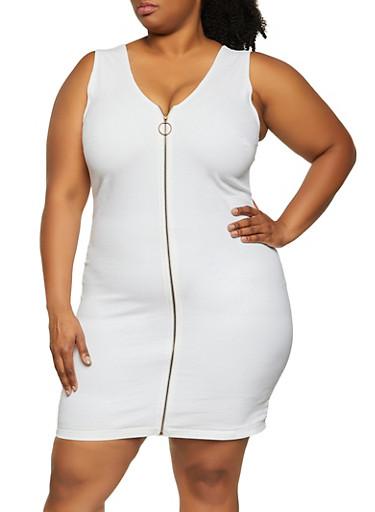 Plus Size Zip Front Denim Tank Dress,WHITE,large