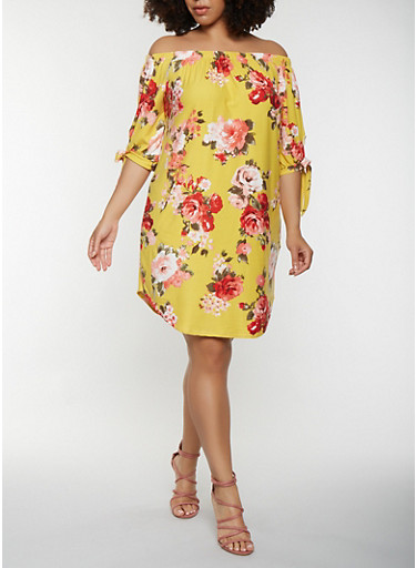Plus Size Floral Off the Shoulder Dress,MUSTARD,large