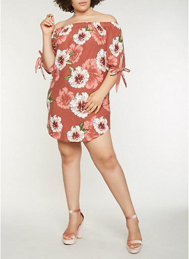 Plus Size Printed Off the Shoulder Dress,WINE,large