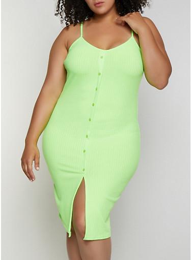 Plus Size Button Detail Rib Knit Cami Dress,NEON LIME,large