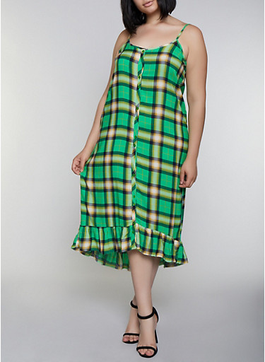 Plus Size Plaid Ruffle Dress,GREEN,large