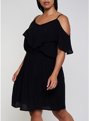 Plus Size Cold Shoulder Skater Dress,BLACK,large