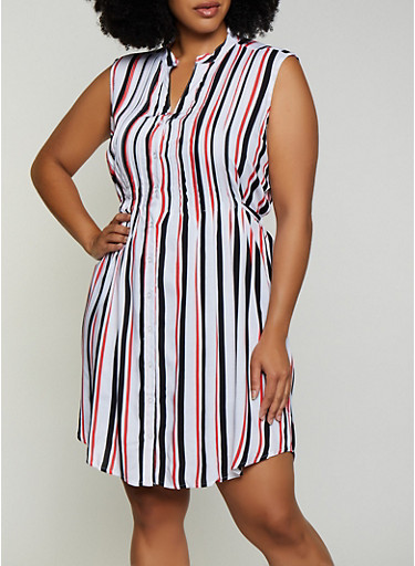 Plus Size Sleeveless Striped Button Front Dress,RED,large