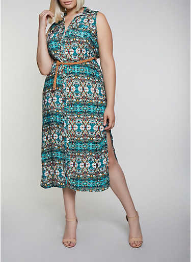 Plus Size Printed Belted Shirt Maxi Dress,TEAL,large