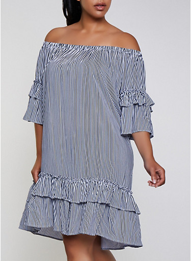 Plus Size Striped Ruffle Off the Shoulder Dress,NAVY,large