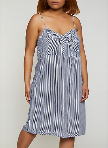Plus Size Tie Front Striped Cami Dress,NAVY,large