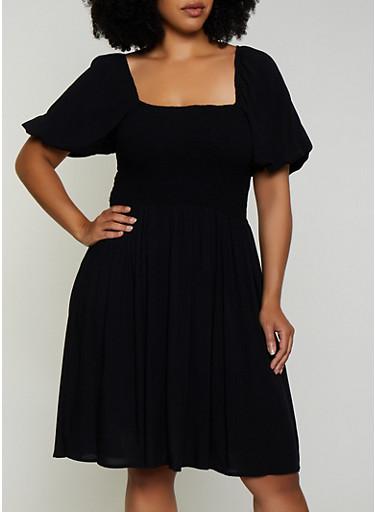 Plus Size Smocked Square Neck Dress,BLACK,large