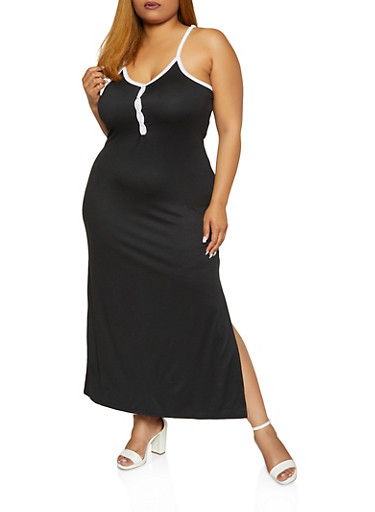 Plus Size Side Slit Maxi Dress,BLACK/WHITE,large