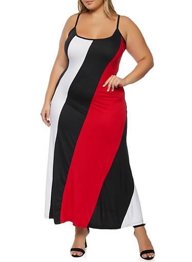 Plus Size Color Blocked Cami Maxi Dress,BLACK/WHITE,large