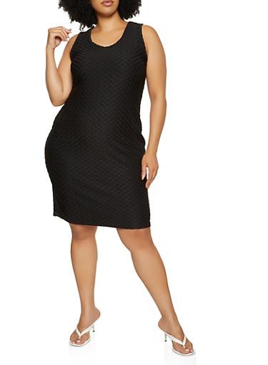 Plus Size Honeycomb Knit Dress,BLACK,large