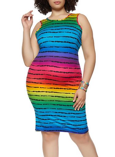 Plus Size Rainbow Striped Tank Dress,MULTI COLOR,large
