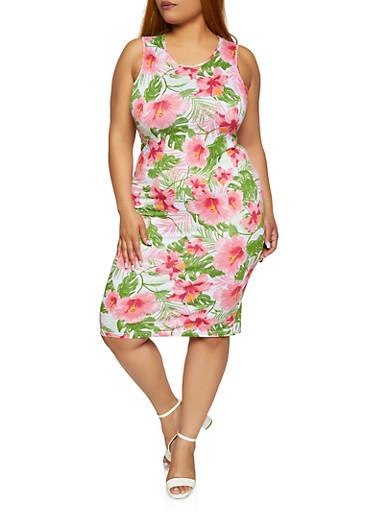 Plus Size Floral Tank Dress,GREEN,large