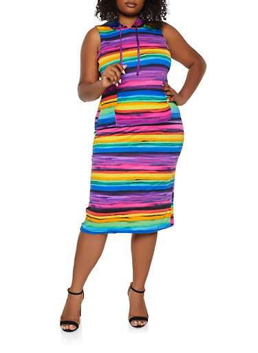 Plus Size Abstract Striped Hooded Bodycon Dress,BLACK,large