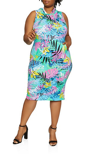 Plus Size Tropical Print Hooded Dress,TURQUOISE,large